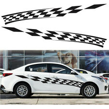 "2x Car Side Door Body Stickers Black Racing Plaid Stickers Decals 110"" × 13"""