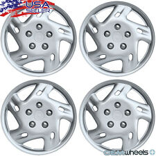 "4 NEW OEM SILVER 14"" HUBCAPS FITS PONTIAC SUV CAR VAN CENTER WHEEL COVERS SET"
