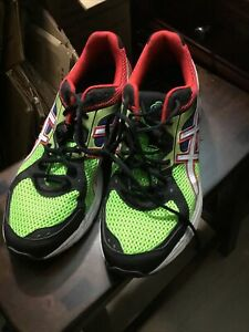 Asics Gel Contend 2 Mens Size 11.5 Neon Green Red Athletic Running Shoes T424N
