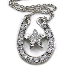Star & Horseshoe Pendant Necklace Lucky Western Cowgirl Charm Polish Silver Tone