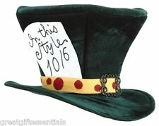 Alice in Wonderland Mad Hatter Top Hat Adult Madhatter Costume Green Tea Party