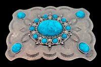 FLOWER FLORAL BLUE STONES WESTERN RODEO BELT BUCKLE BOUCLE DE CEINTURE