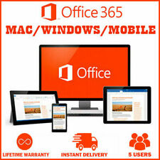 NEW Microsoft Office 365 LIFETIME Account Subscription 5 Users PC/Mac 2019