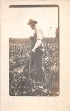 B29/ Occuptional Worker RPPC Postcard c1910 Black Americana Farmer Hoe 22
