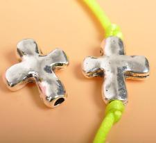 Wholesale 50pcs Tibetan silver Cross Spacer Beads DIY Jewelry Findings 14mm