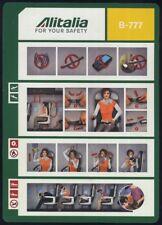 Alitalia Italian Airlines B 777 Airline SAFETY CARD A4 air brochure sc846 ax