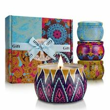 Scented Candles Gift Sets 4 Pcs Natural Soy Wax 4.4 Oz Unit Portable Travel Tin