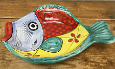 "Large Vietri Italy Figural Fish Colorful Serving Dish Oval Platter 16"" RARE Bowl"