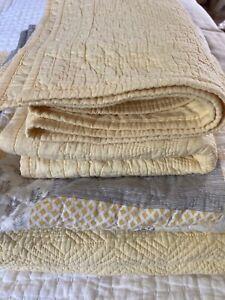 4 Pcs Yellow/Gray Bundle -Twin quilt, 2 Standard Shams & Small Patchwork Quilt