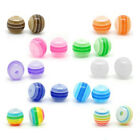 100Pcs Striped Round Shape Resin Spacer Beads Multi-color 6mm Applied