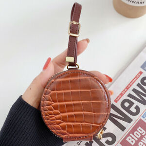 Crocodile Leather Round Case Cover For AirPods 1 2 Pro Charging Strap Zipper Bag