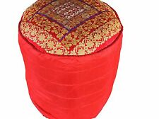 """Red Round Gold Zari Pouf Cover Floor Seat Living Room Ottoman Slipcover 18"""""""