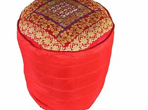 Red Round Gold Zari Pouf Cover Floor Seat Living Room Ottoman Slipcover 18""