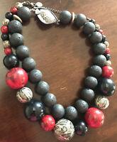 Wunderschönes Mode-Schmuck-Set 2tlg Perlenketten Schwarz und Rot Schwarz Grau