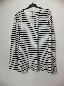 New Men's Seasalt Blue Striped Breton Chalk Raven Sailor Shirt UK XXL