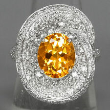 New 925 SilverRing 100%Natural Golden Yellow Citrine Unheated Gem! Size 7