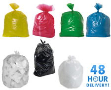BLACK & COLOURED STRONG REFUSE SACKS BAGS BIN LINERS RUBBISH BAGS UK MADE