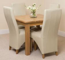 Oslo 90cm Kitchen Solid Oak Dining Table and 4 Black Leather Chairs