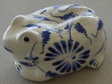 Wonderful Blue & White Porcelain Frog Figural Trinket Box - VGC - SUPER CUTE