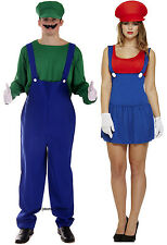 Mens Luigi + Ladies Mario Couples 80s 90s Plumber Fancy Dress Costume Outfit