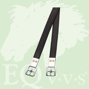 "Equus Dressage Stirrup Leathers, Calfskin Lined ,Non-Stretch,Black/Brown, 62""x1"""