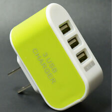 Triple USB Port Wall Home AC Power Charger Adapter Samsung Galaxy Green