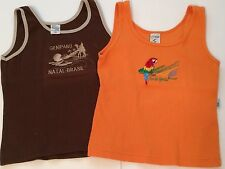 Lot 2 BRASIL Girls Medium Brazil TANK TOPS Shirts Tourist Souvenir Orange Brown