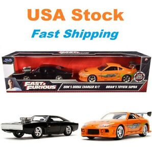 "Fast And Furious Twin Pack Brian's Toyota Supra and Dom's Dodge Charger 5"", 1:32"