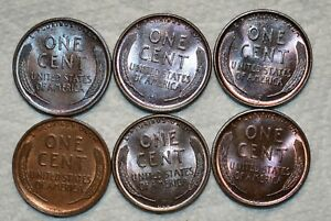 5x Brilliant Uncirculated 1909-P VDB Lincoln Cents, Attractively toned