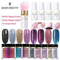 12 Bottles BORN PRETTY Dipping Powder Liquid Powder Brush Nail Art Starter Kits