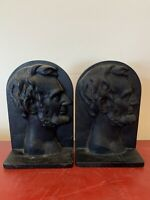Antique Pair Of Late 19th Century Bronze Abraham Lincoln Bookends Bookend
