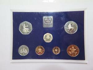 GREAT BRITAIN 1982 PROOF SET PENCE PENNY DEEP CAMEO COINS HAZY TONING 🌈⭐🌈