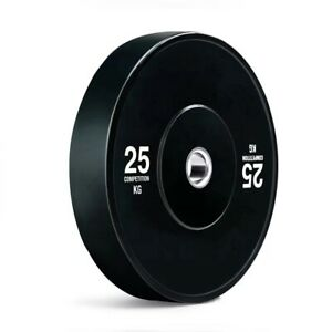 "25 kg Black Olympic Rubber Bumper Plates -  2"" Size."