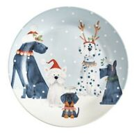 NWT Pier 1 ~ HOLIDAY PUPS Dogs Christmas Salad Dessert Plate Whimsical