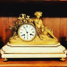 Antique 19 YY Art Nouveau Figural Clock FRENCH BRONZE MARBLE TABLE HOURS