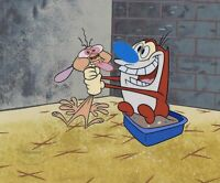 REN & STIMPY Cel Limited Edition Sericel Animation Art All Choked Up Nick Seal