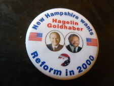 New Hampshire Reform Party Presidential Campaign Pin Back Button Hagelin Flag