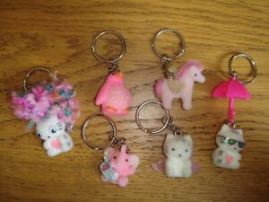 SIX Fuzzy Character Keyrings *Party Bag*