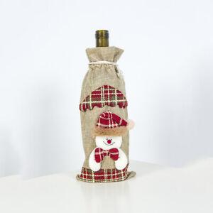 2021 Hot Wine Bottle Cover Bags Snowman Santa Claus Christmas Decor Sequins Xmas