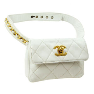 CHANEL Quilted CC Belt Waist Bum Bag 387608 White Leather 02768