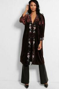 Velvet Floral Embroidery Kaftan Duster Coat Black Wine or Brown One Size BNWT