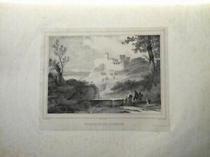 BELLE LITHO PAYSAGE VUE CHATEAU FABRIQUE POUSSIN ROME ITALIE ROMA ITALIA 1840