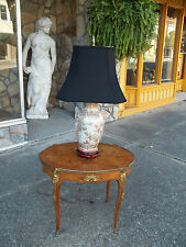 Fantastic Porcelain Table Lamp with Polished Brass and a Silk Shade 20th century