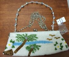Beaded Clutch Bag Purse w/ Handle & Chain Shoulder Strap & Extra Beads