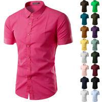 Men Short Sleeve Shirts Button Down Casual Cotton Formal Slim Fit Shirt M-3XL