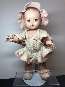 "12"" Antique Vintage Unmarked Hard Plastic Toddler Baby Doll Sweet Face #Me"
