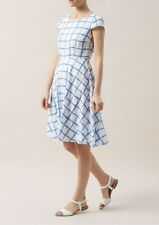 "Hobbs dress ""Wessex"" blue and white check flax linen dress UK 8"