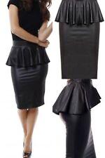Wet Look Faux Leather Frill Peplum Pencil Skirt Ladies PVC Midi Plus Size Skirt