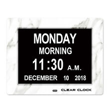 Clear Clock Digital Memory Loss Calendar Clock Dementia Alzheimers White Marble