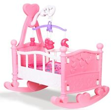 Pink Dolls Rocking Cradle Crib Cot Bed Girls Toy With Mobile, Blanket & Pillow